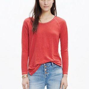Madewell Raglan Tee Shirt Size M Long Sleeve Linen